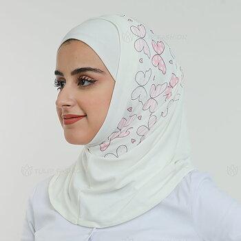 Hijab Al Amira - Printed Lycra - Off-White