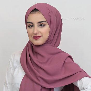 Hijab - Crepe Georgette - Mörk Rosa