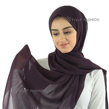 Hijab - Chiffon - Mörklila