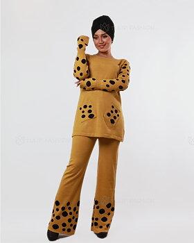 Prickigt stickad tröja och byxor set - Mustard
