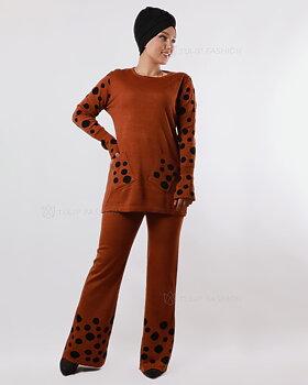Prickigt stickad tröja och byxor set - Firebrick