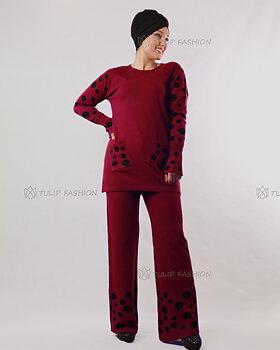 Prickigt stickad tröja och byxor set - Maroon
