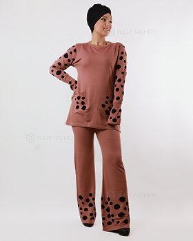 Prickigt stickad tröja och byxor set - Rosa