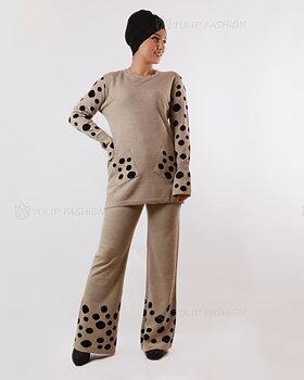 Prickigt stickad tröja och byxor set - Ljusbeige