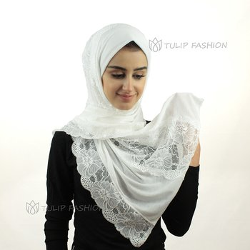Hijab - Jersey with Lace - Off-White