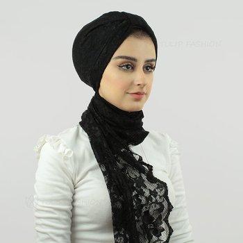 Turban med sjal - Spets - Svart