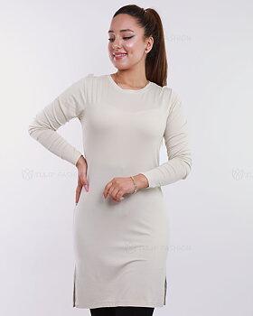 Basic långärmad tröja - Ljusbeige