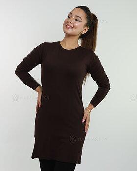 Basic långärmad tröja - Mörkbrun