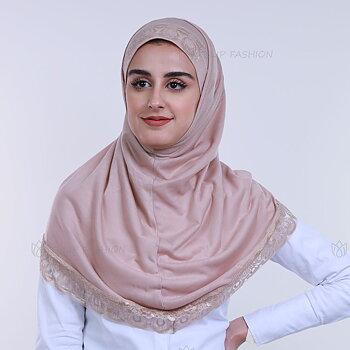 Hijab Al Amira Dekorerad - Beige