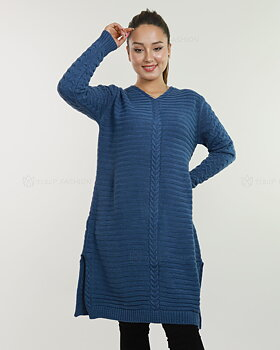 Långärmad stickad tunika - Blå