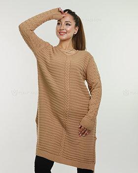 Långärmad stickad tunika - Camel