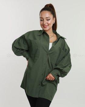 Skjorta med ballongärmar - Grön oliv
