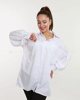 Skjorta med ballongärmar - Vit