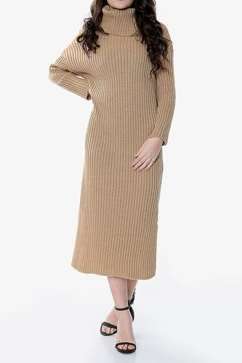 KNITTED POLO DRESS CAMEL