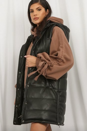 LONG PUFFER GILET FAUX LEATHER BLACK