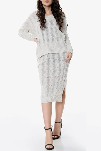 JOLINE CO-ORD SET JUMPER & SKIRT BEIGE