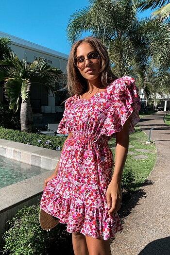 SOPHIA FLORAL FRILL DRESS  PINK FLOWERS