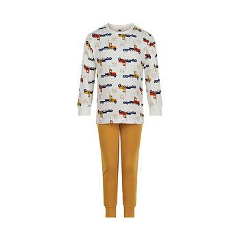 CELAVI - Vit och gul tvådelad pyjamas med mönstrad överdel