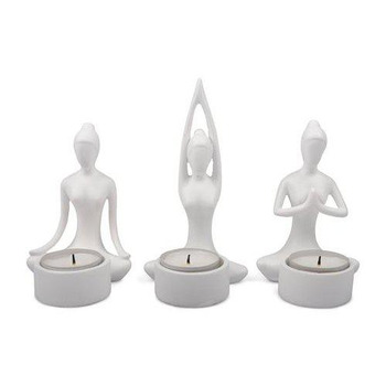 Dekoration 3 Yoga Kvinnor Vita