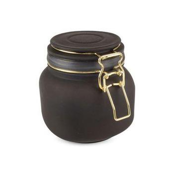 Burk i glas sotig svart  lufttät  13x11,5x13 cm