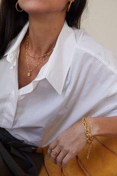 Letters beaded neck 40-45 white gold