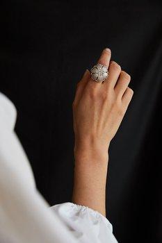 Gatsby big stone ring silver