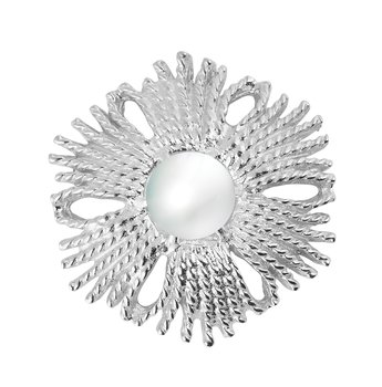 Gatsby big pearl ring silver