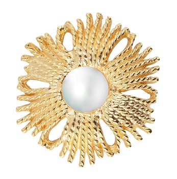 Gatsby big pearl ring gold