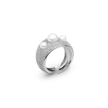Pearl bubble ring stl 16,5 silver