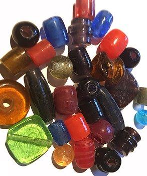 Handgjorda Glaspärlor / Vikingapärlor - Singel Färg - Mixed Färg