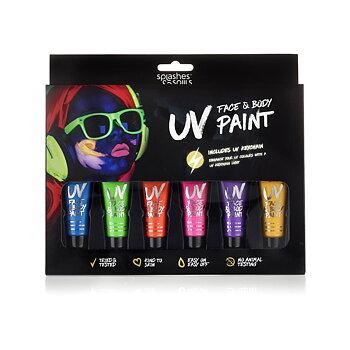 UV Neon ansikts- og kroppsfargesett (inkl. UV-lampe)