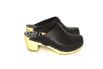 Hagatoffeln, clog - with higher heel black