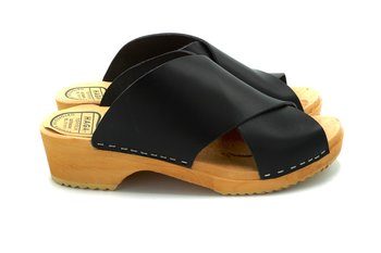 A clog with leather crossed over-black